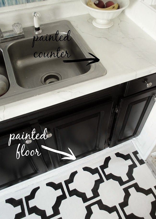Painted Laminate Counters And Painted Vinyl Floors
