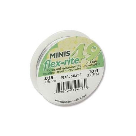Small spools of strong, soft, and flexible premium quality forty nine strand stainless steel beading wire. This wire has a pearl silver nylon coating, superior drape and kink resistance. See our large range of jewellery making supplies.