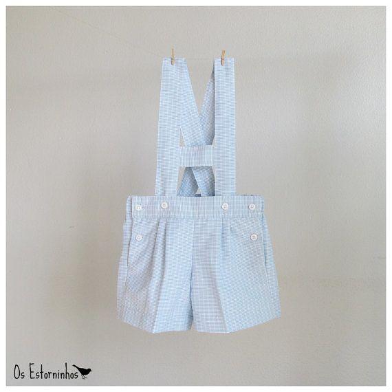 Baby Boy Shorts Overalls - Striped Light Blue Shortalls H bar suspenders via Etsy