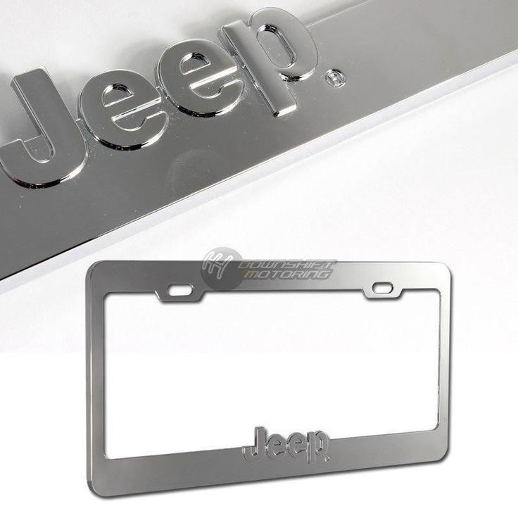 Jeep Logo 3D Chrome Die Cast Zinc License Plate Frame - Official Licensed  #Jeep