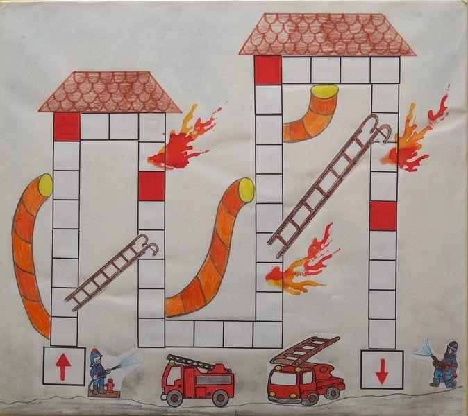 Comme sur un plateau jeu des pompiers