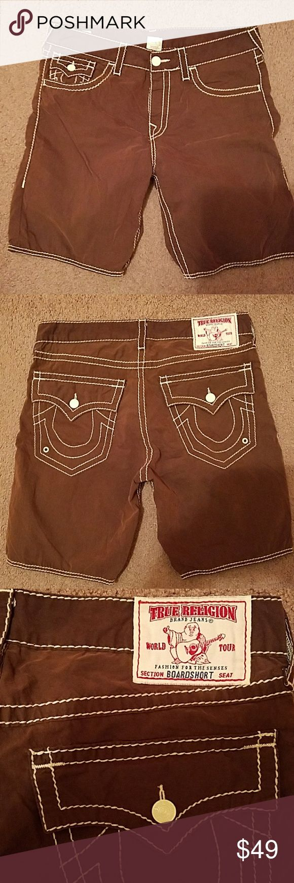 TRUE Religion Brown Lightweight sz 34 Shorts True Religion Brown lightweight shorts.  Size 34 men's casual shorts   Brown with white trim with five pockets.  The shorts are brand new without tags and are authentic True Religion True Religion Shorts