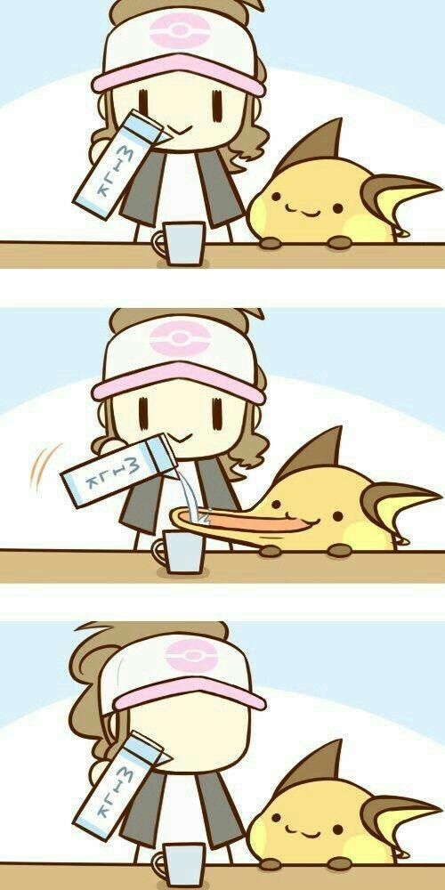 Raichu milk funny text comic cup trainer cute - Pokemon x raichu mega evolution ...
