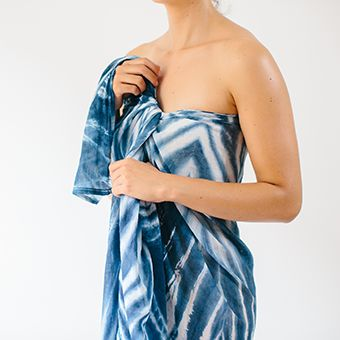 100%  sheer cotton, hand dyed indigo.170 x 140cmMade in Sydney