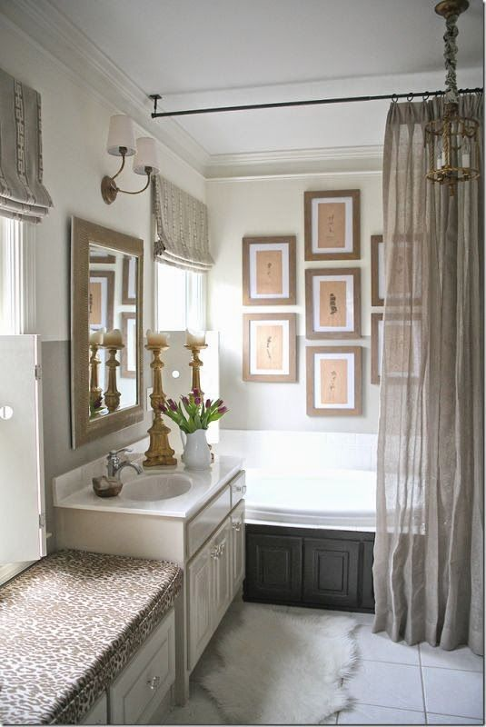 Love the linen shower curtain and rod hung from ceiling ... linen on curtain and cheetah or leopard print on bench seat in bath