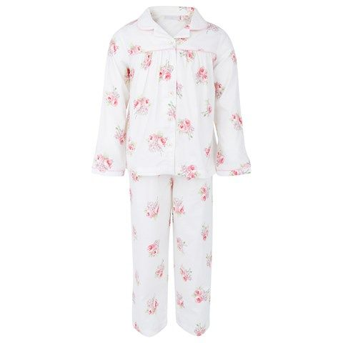 The Little White Company White and Pink Floral Pyjamas