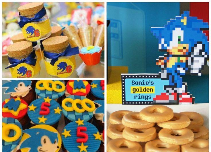 Festa infantil com personagens de games docinhos no tema Sonic