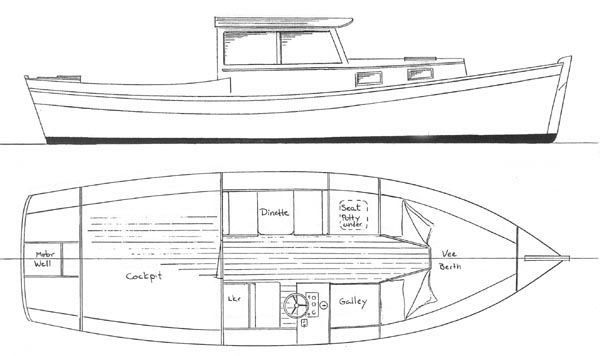 Redwing 21 Pilothouse - Boat Plans and Yacht Designs -- Chesapeake Marine Design