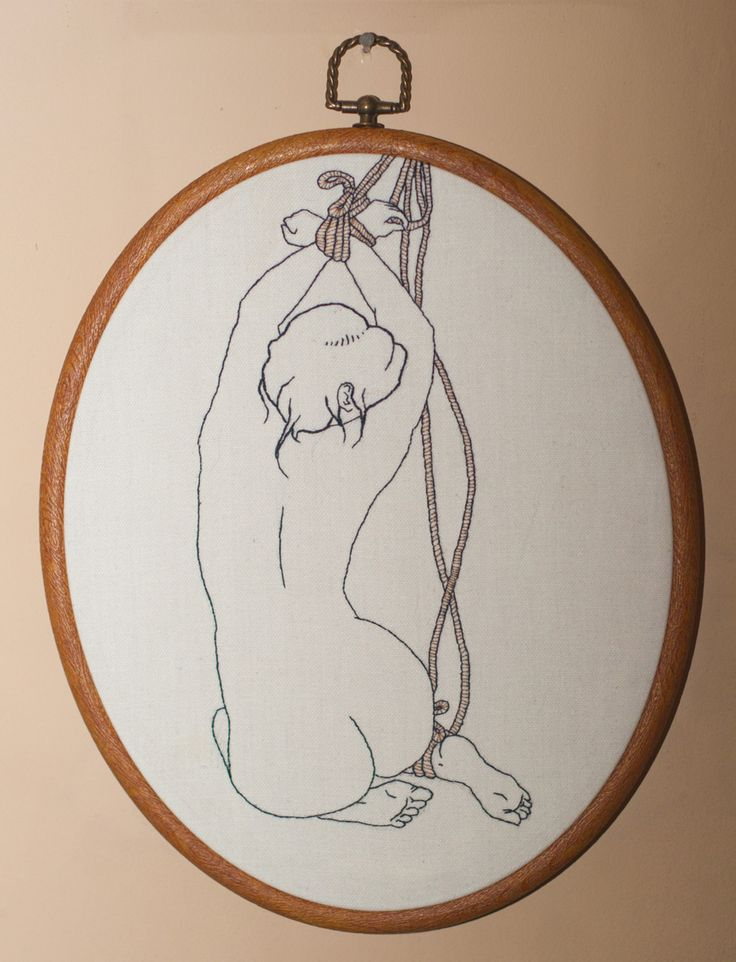 This was my very first freehand piece. If you're really keen on your Japanese bondage art, you may notice that the outline is based on a print by Ozuma Kaname