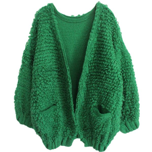 Green Pretty Womens Batwing Thick Plain Cardigan Sweater ($60) ❤ liked on Polyvore featuring tops, cardigans, green, batwing cardigan, green top, thick cardigan, batwing tops and green cardigan