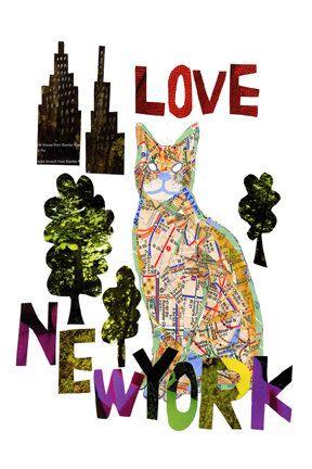 Mappa di gatto LOVE NY CAT di pinkypilotsart su Etsy