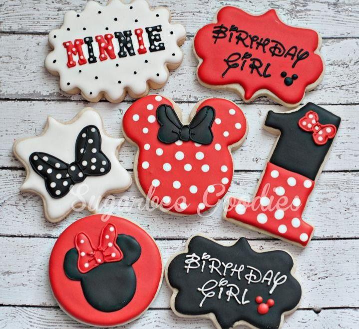 Minnie Mouse birthday cookies by Sugarbee Goodies