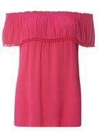 Womens Pink Pom Pom Trim Bardot Top- Pink