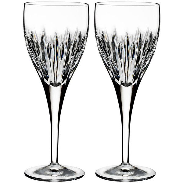 Waterford Mara Wine Glasses - Set of 2 ($94) ❤ liked on Polyvore featuring home, kitchen & dining, drinkware, czech crystal wine glasses, waterford champagne flutes, crystal drinkware, waterford wine glasses and waterford glasses