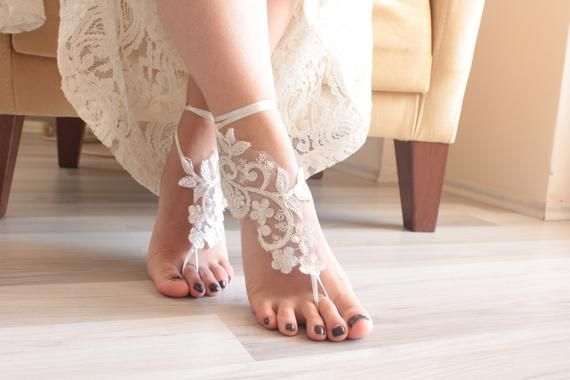 Barefoot Sandals Bridal Barefoot Beach Wedding Lace Sandals