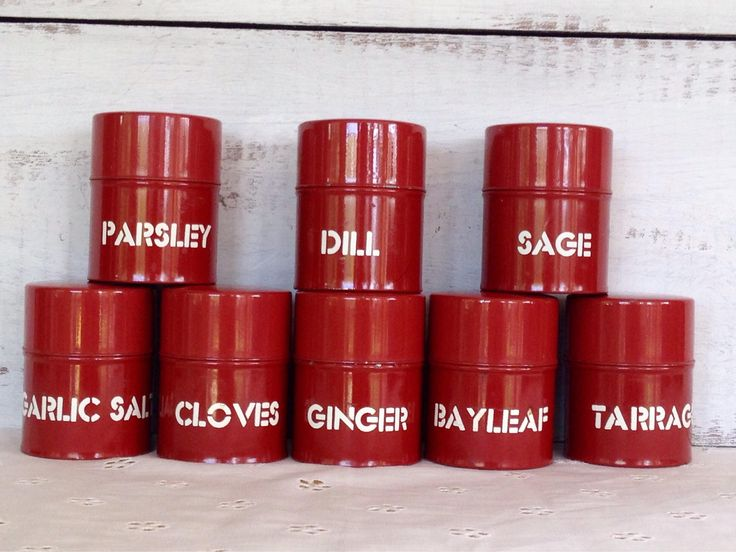 Neat set of 8 spice tins from my Etsy shop https://www.etsy.com/listing/532918994/vintage-set-of-8-brick-red-graphic-spice