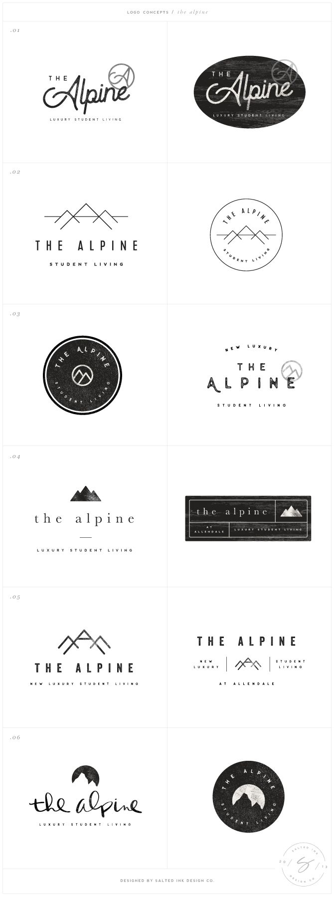 The Alpine Brand Design by Salted Ink | Logo Design Concepts | www.saltedink.com | brand design, brand designer, graphic design, brand board, brand guide, Charlotte NC |