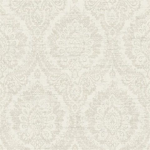 Kauai Beige Damask  Modern Damask Wallpaper, A large scale beige damask wallpaper. This warm toned print has an intricate print that of softened in a monochrome color palette. Distressing adds a shabby chic style.