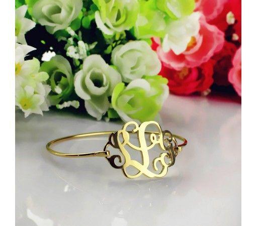 1.25 Inch Monogram Bracelet Custom Initial Bracelet in Gold Plated