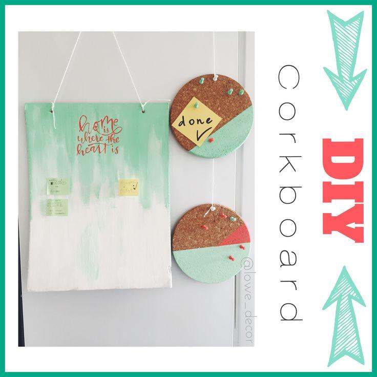 Diy Corkboard for notes, list, to do list, wish list. Mint and coral color. Acrylic paint. Пробковая доска для желаний, заметок, списков, записей своими руками. Ментолового цвета, коралловый