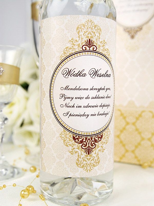 Polish Wedding Vodka Have Label With Our Date And Location For Drinking At Table