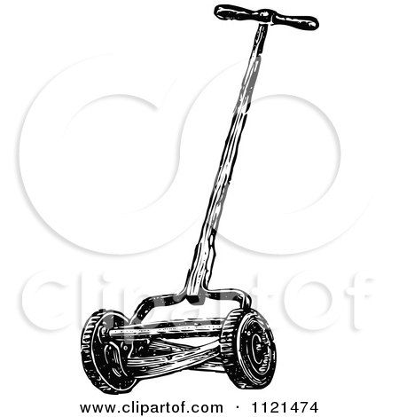 Clipart Of A Retro Vintage Black And White Cylinder Lawn Mower - Royalty Free Vector Illustration by Prawny Vintage