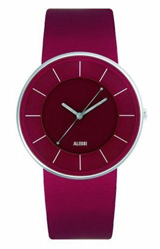 Luna Leather Watch Color: Dark Red Alessi