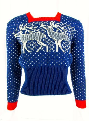 vintage 40s 50s hand knit wool Reindeer snowflake sweater ugly christmas Fitted