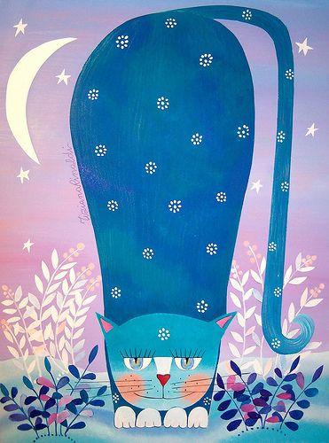 """https://flic.kr/p/8Rsyan   le gatte, di notte, diventano blu   venduto - sold questo dipinto è stato scelto come copertina per il libro """"Amici fino in fondo"""" di Stefano Cattinelli Ed. AAM Terra Nuova"""