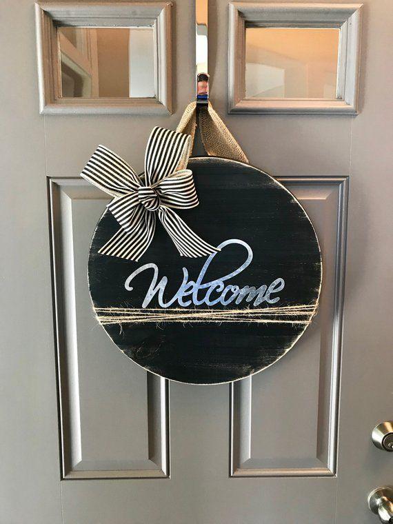Welcome Sign Black Door Hanger Front Decor