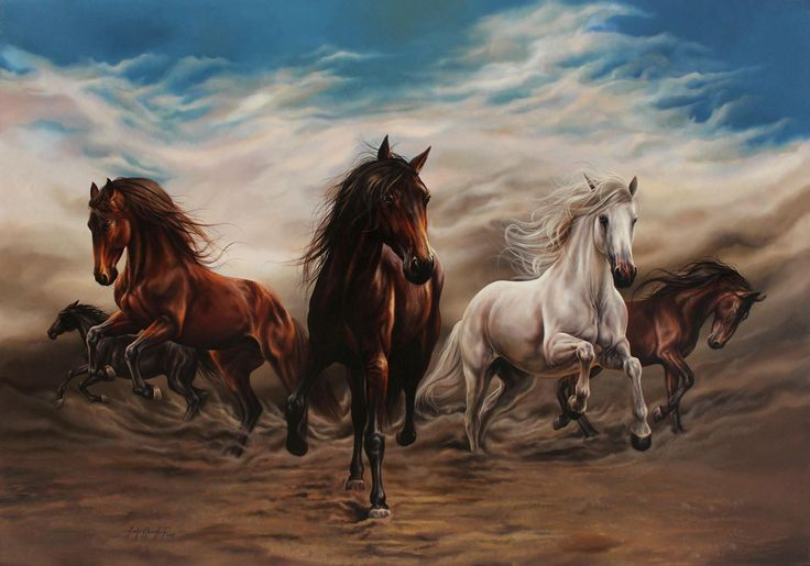 Behzat Feyzullah – Koşan Atlar(Running Horses) 140×200 cm, TÜYB, 2015