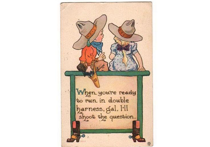 Vintage 1910s Cowboy and Cowgirl Romance Postcard Children Boots S. Bergman