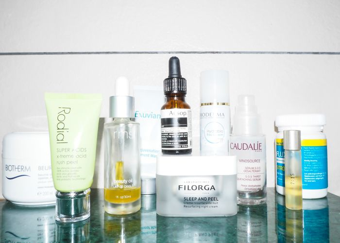 """Filorgra sleep & peel to RMS beauty Oil, Rodial and Flour tablets (a must!)."""