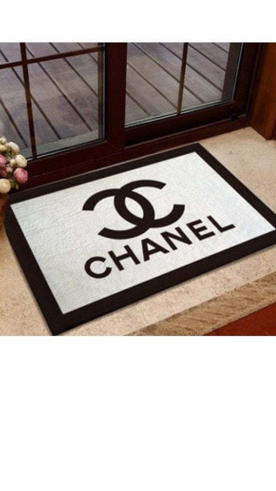 Inspired Handmade C logo Black & White Rectangular Carpet Door Mat, Bedroom Rug, Bath Mat, Home Decor, 40cmx60cm
