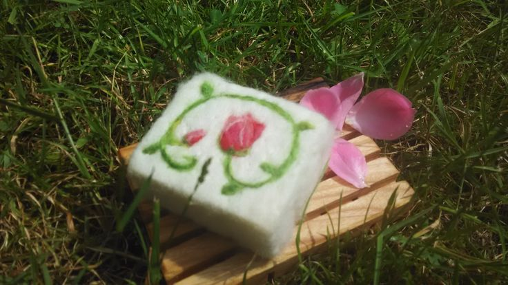 felted rose soap
