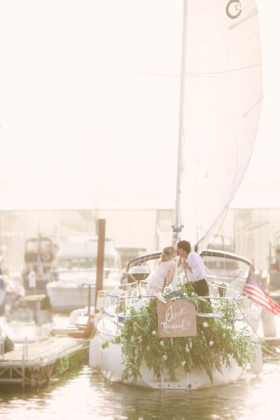 Just married honeymoon sailboat: http://www.stylemepretty.com/tennessee-weddings/knoxville/2014/10/16/sailboat-honeymoon-styled-shoot-in-knoxville-tennessee/ | Photography: Red Boat - http://www.redboatphotography.net/