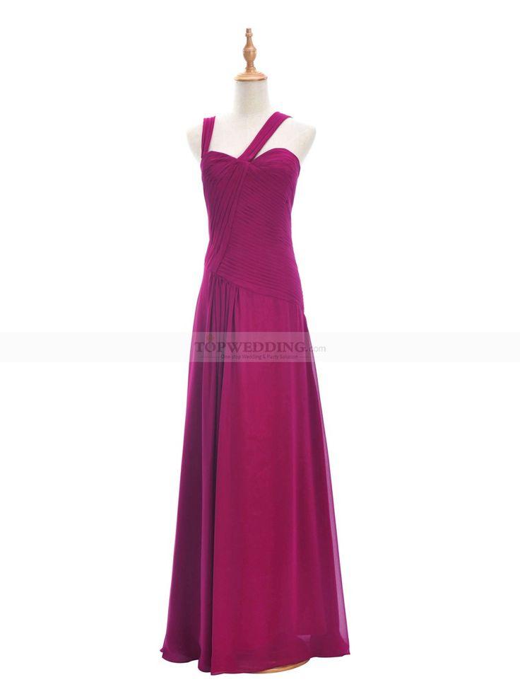 Magenta oscuro vestido de damas de honor de gasa con escote corazón