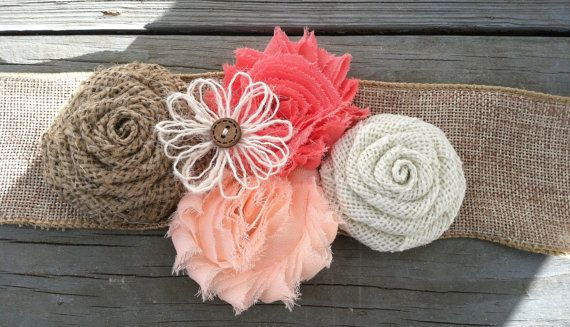Rustic Peach/Coral Burlap Flower Girl Sash/Belt/Rustic Flower Girl Outfit/Country Wedding/Burlap Sash/Burlap Headband/Peach Burlap Headband on Etsy, $22.50