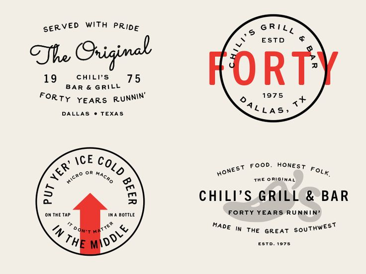 Errbody knows Chili's - been around 40 years now. Potential coasters in celebration of their anniversary.