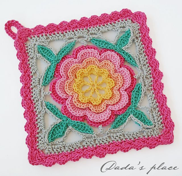 Inspiration @ Dada's place: Crochet potholders - pattern from Japanese crochet book