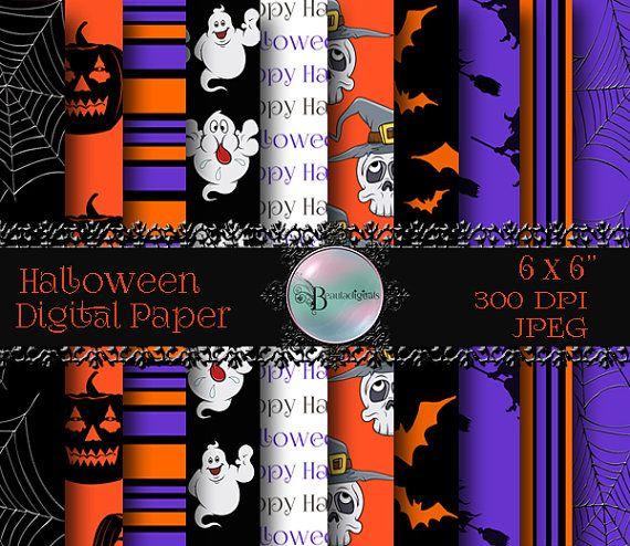 Halloween Digital Papers  Skulls  Witches  by Beauladigitals