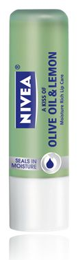 Nivea Olive Oil & Lemon lip balm.  My favorite in their line of lip care.  The smell is slightly perfumey but fresh.