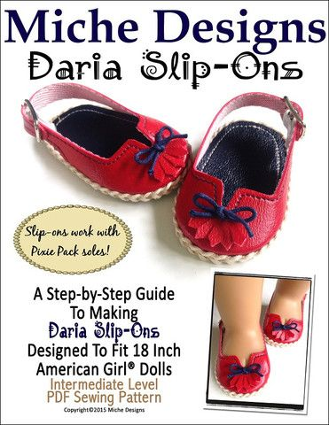 Miche Designs Daria Slip-Ons Doll Clothes Pattern 18 inch American Girl Dolls | Pixie Faire