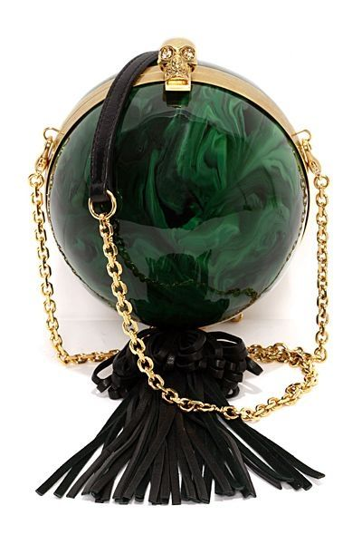 Alexander McQueen Green and black tassel clutch