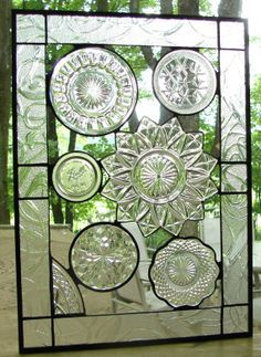 Vintage Crystal plate collage panel stained glass
