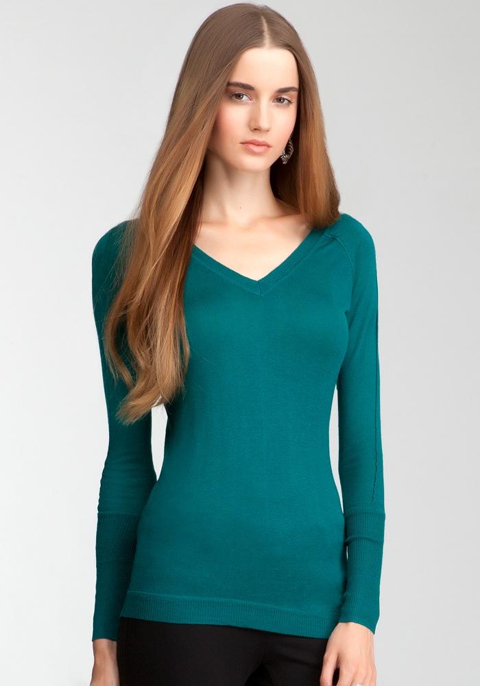 V-Neck Asymmetric Sweater Top - Everglade - Xs