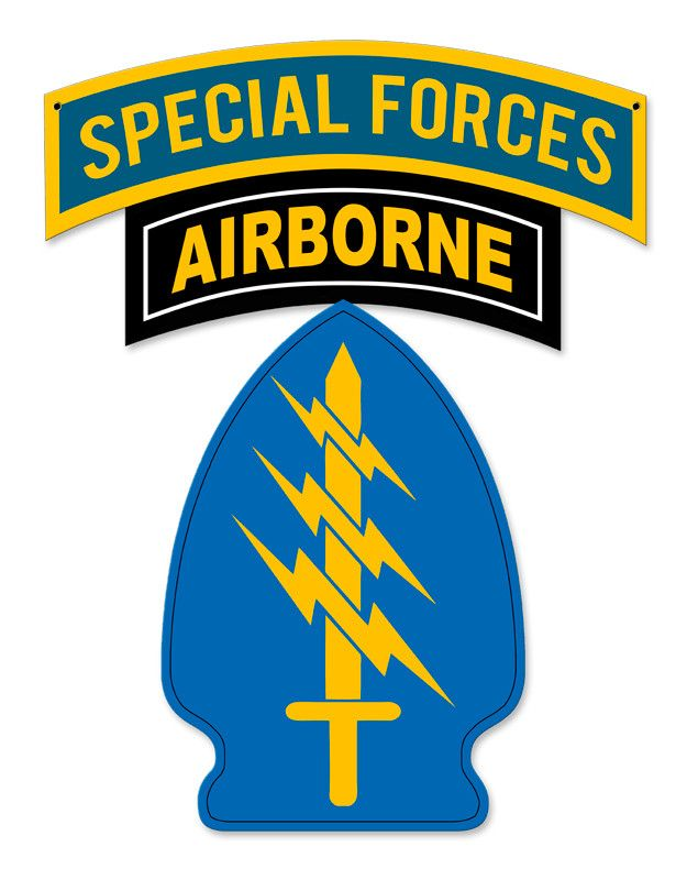 From the Altogether American licensed collection, this Special Forces with Patch Sign measures 16 inches by 20 inches and weighs in at 2 lb(s). This custom metal shape is hand made in the USA using he