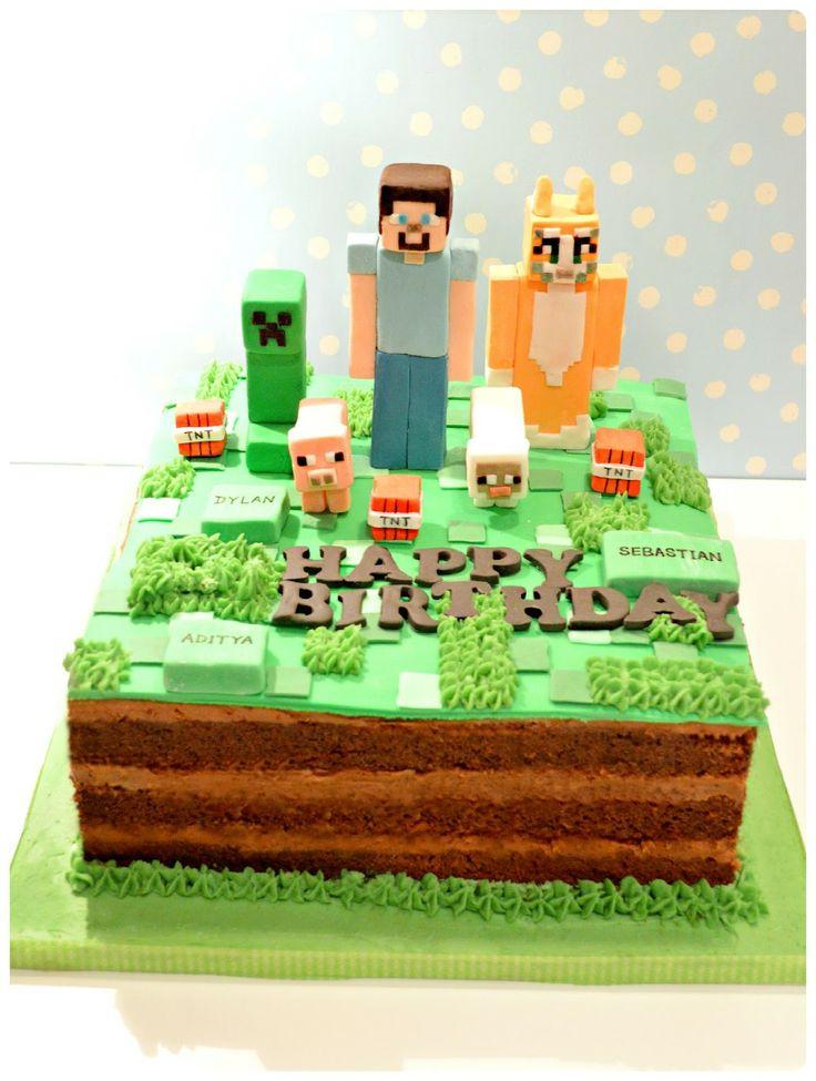 Minecraft Creepy, Steve and Stampy Cat Birthday Cake