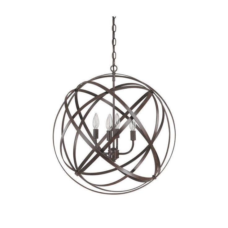 This Axis collection 4-light pendant features a painted russet finish that will compliment many transitional urban and contemporary decors. The very popular globe design adds interest to any setting.