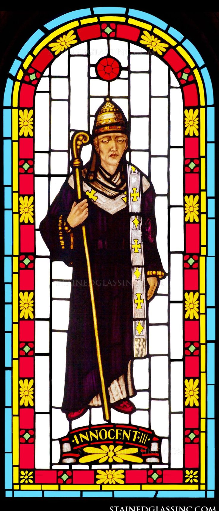 """""""Pope Innocent III"""" Religious Stained Glass Window"""